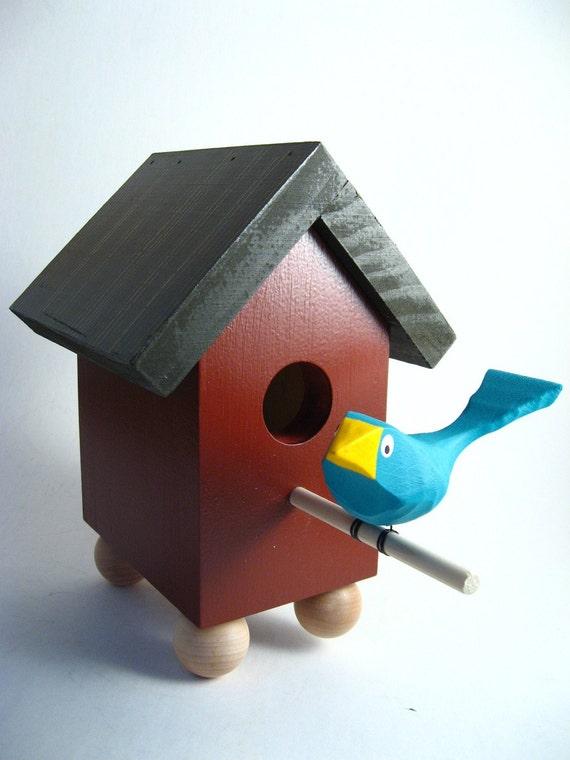 Carved Bird Birdhouse