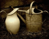 Jug and Watering Can - A4 - Sepia style print