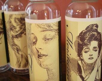 Vintage Edwardian Victorian Travel Bottle Set of 6 Gibson Girls New