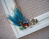 White Frame Earring Holder with Vintage Jewelry