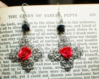 Filigree and Red Rose Spanish Earrings - Latin Flavour