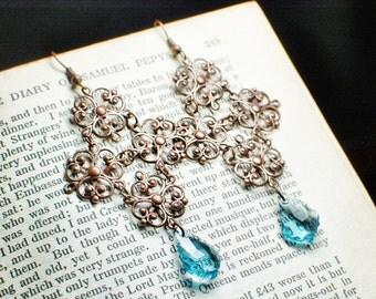Copper Filigree Gothic Cross Earrings with Blue Aquamarine Swarovski Crystals