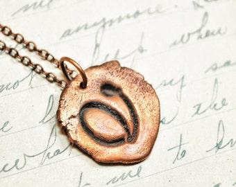 Cursive Letter Necklace - Copper Antique Wax Seal Pendant Necklace