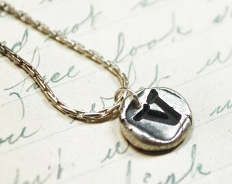 Silver Letter Necklace - Monogram Initial Pendant Wax Seal