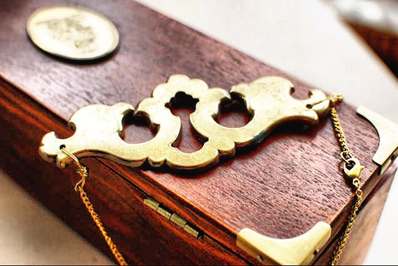 Gold Vintage Escutcheon Necklace with Keyplate Pendant - Steampunk Industrial Goth