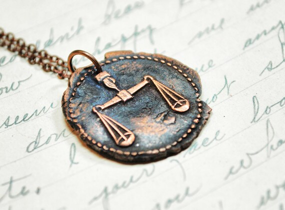 Justice Libra Pendant- Zodiac Antique Wax Seal Necklace in Copper of Scales