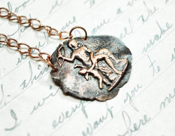 Aphrodite Necklace - Greek Mythology Copper Antique Wax Seal Pendant