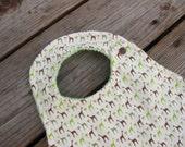 Grass Retro Giraffe Designer Bib, with green Minky- For baby to Toddler