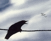 Calling Crow FINE ART PRINT aceo
