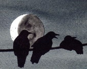 Three Crows and Moon 4x6 FINE ART PRINT