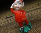 Cute Little Vintage Red Porcelain Elf