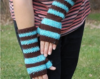 Striped Hand knit fingerless gloves in acrylic teal and merino wool chocolate brown