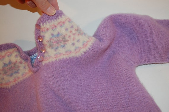 lilac felted wool sweater with out sleeves Fair-isle design