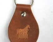 Leather hand stamped tooled key fob chain horse and foal