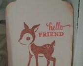 Christmas Gift Tag..Deer Gift Tags..Hello Friend.....Set of 6 ECS