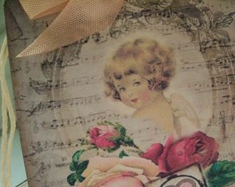 Cherub and Roses Gift Tags ...Pure Love...Set of 5ECS