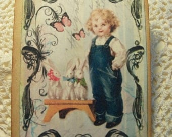 Easter  Gift Tags...Boy and His Bunnies..........Set of 6
