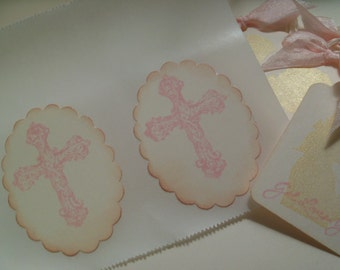 Holy Communion Sticker Seals... Pink  Cross Stickers Baptism Party Favor Seals .. Pink...Set of 12