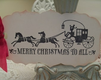 Christmas Gift Tags...Horse and Carriage Ride Holiday Tags ...Set of 4 ECS