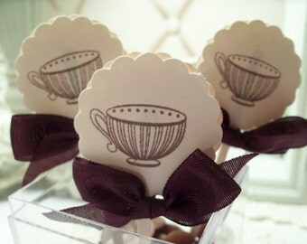 Teapot and Teacup Cupcake Topper Treat Topper Mini Food Picks Ivory and Brown Set of 12 ECS