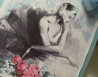 Ballerina Gift Tags ..Ballet Hang Tag...Prima Ballerina and Roses.. Set of 2..... ECS