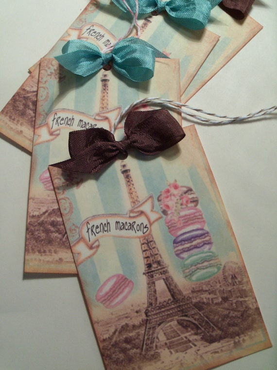French Macarons and Paris Gift Tags  Eiffel Tower Party Favor Tags..........Set of 4 ECS