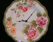 Floral Wall Clock in Pink Ivory Sage Green - Ceramic Plate Clock - Kitchen Clock - Kitchen Wall Decor - 1439