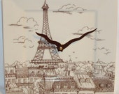 Cream and Brown Paris Eiffel Tower Plate Wall Clock No. 563 (8 inches)