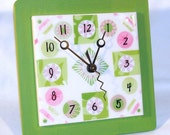 Lime Green and Pink Whimsical Ceramic Tile Plate Wall Clock No. 598 (8 inches)