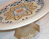 Blue and Gold Mediterranean Inspired Cake Pedestal / Cake Plate / Dessert Pedestal / 037 (11 x 5 inches)