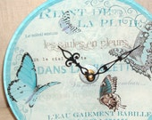 Wall Clock - French Aqua Butterflies Glass Plate Wall Clock No. 749 (8-1/2 inches)