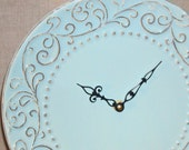 Clock Soft Muted Turquoise Swirly Shabby Chic Ceramic Plate Wall Clock No. 797 (10-1/2 inches)