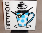 Desk or Shelf Clock - Aqua and White Polka Dot Coffee Mug Ceramic Tile Desk Clock No. 815 (4-1/4 inches)