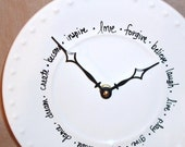 Wall Clock - Black and White Words Love Forgive Believe Ceramic Plate Wall Clock No. 823 (9 inches)