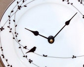 Wall Clock - Black and White Bird on a Vine Bone China Plate Wall Clock No. 843 (8-1/4 inches)