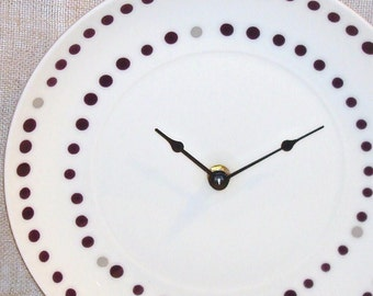 Plum Polka Dot Wall Clock Plate Clock Unique Wall Clock Purple Polka Dot Clock Kitchen Clock Home Decor Wall Decor No 449