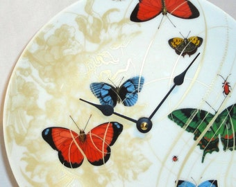 Butterfly Wall Clock - Unique Wall Clock - Porcelaine Plate Clock - Kitchen Clock - Wall Decor - Home Decor No. 632 (8-3/4 inches)