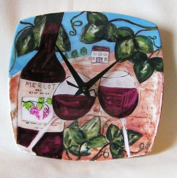 SALE SALE Merlot Wine Bottle and Glasses Vineyard Plate Clock (8 inches) No. 230