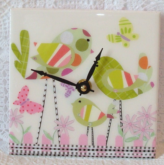 Green Whimisical Birds Tile Clock No 433 (6 inches)