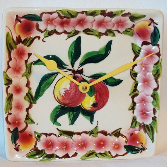 ON SALE - Peaches and Blossoms Plate Wall Clock No. 520 (7-1/4)