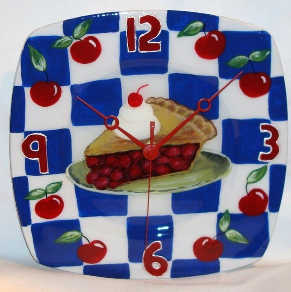 Wall Clock - Hand Painted Cherry Pie Plate Clock (10-1/2 inches) No. 352