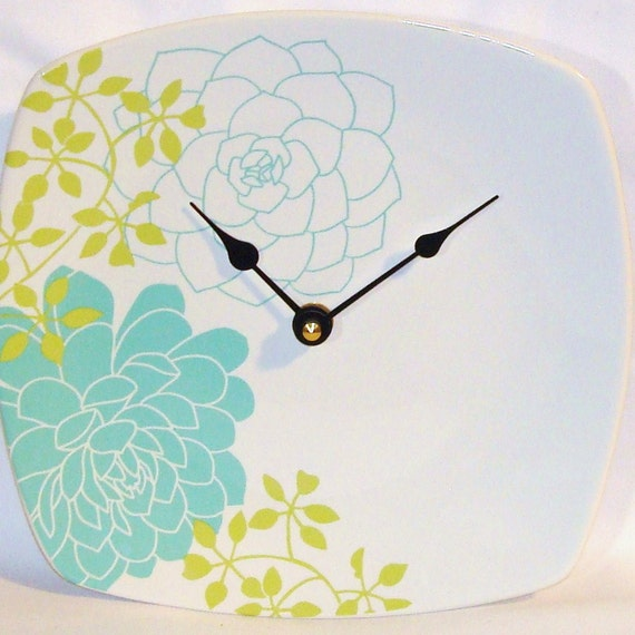 Lime and Turquoise Floral Porcelain Plate Wall Clock No. 572 (8 inches)
