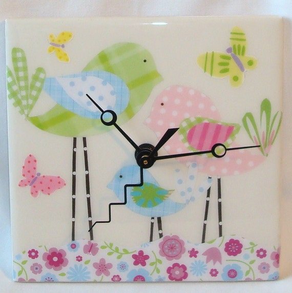 Pink Green and Blue Whimsical Bird  Ceramic Tile Wall Clock No. 573 (6 inches)
