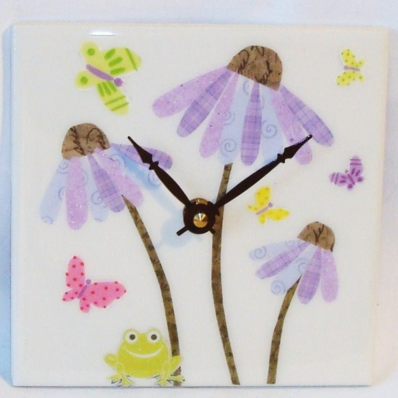 Purple Lavender Whimsical Cone Flower Ceramic Tile Wall Clock No. 587 (6 inches)
