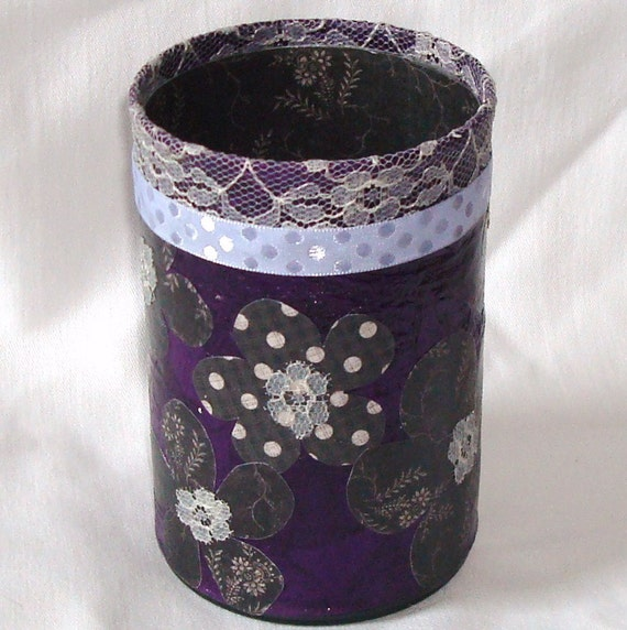 Purple and Gray Floral Pencil Holder No. 029