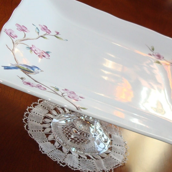 Bluebird and Blossoms Dessert Plate Pedestal No. 060 (11 x 5 inches)