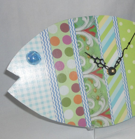 Wall Clock Fish Whimsical Wooden in Pastel Patterns No. 690 (12 x 7 inches)