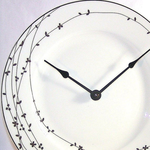 Wall Clock - Silver and White Bird on a Vine Porcelaine Plate Wall Clock No. 798 (11 inches)