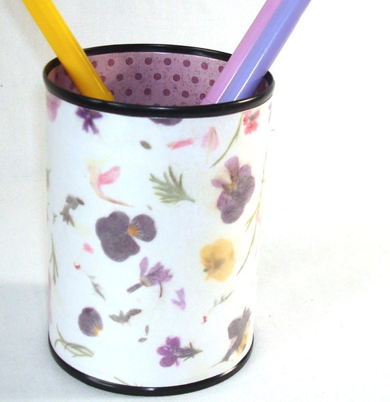 Pencil Cup - Purple Botanical Polka Dot Decorative Can Pencil Holder Desk Accessory No. 131