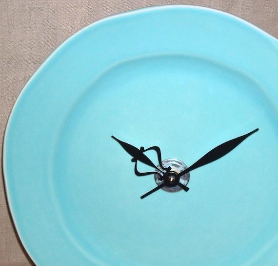 SILENT Robin Egg Blue Wall Clock, Ceramic Plate Wall Clock, Aqua Wall Clock, Turquoise Clock, Kitchen Clock, Unique Wall Clock - 2036